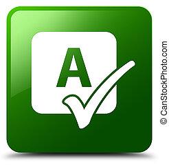 Spell check icon green square button