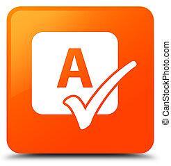 Spell check icon orange square button