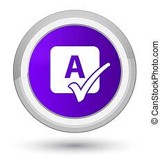 Spell check icon prime purple round button