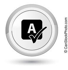 Spell check icon prime white round button