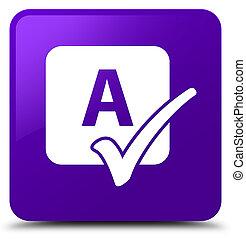 Spell check icon purple square button