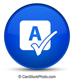 Spell check icon special blue round button