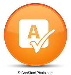 Spell check icon special orange round button