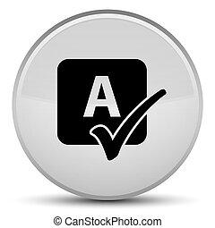 Spell check icon special white round button