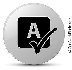 Spell check icon white round button