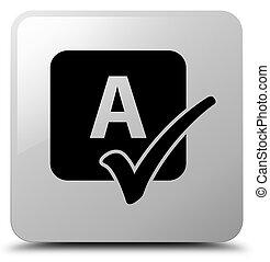 Spell check icon white square button