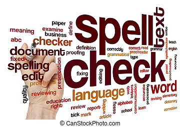 Spell check concept word cloud background