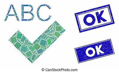 Spell Checking Mosaic and Grunge Rectangle Stamp Seals