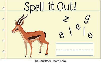 Spell English word gazelle illustration
