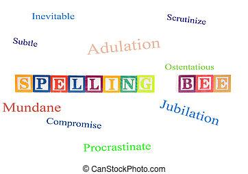 spelled, blocks., lettre, orthographe, abeille, dehors
