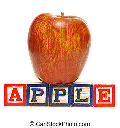 Spelling Apple - Alphabet blocks spell out the word apple...