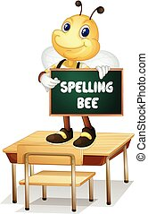 Spelling bee - Illustration of a bee holding a spelling bee...