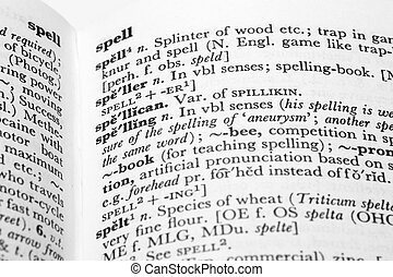 Spelling - Detail of dictionary entries for spelling,...