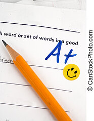 A+ grade on elementary school spelling test