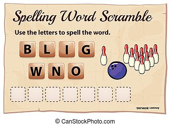 Spelling word game with word bowling