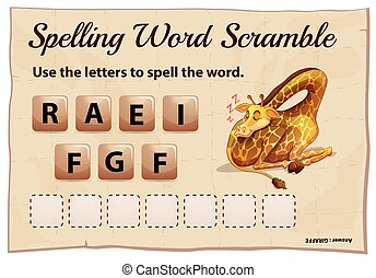 Spelling word game with word giraffe illustration