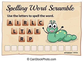 Spelling word scramble for word caterpillar illustration