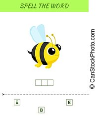 Spelling word scramble game template. Educational activity for preschool years kids and toddlers with cute bee. Flat vector stock illustration.