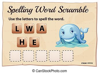 Spelling word scramble game template for whale illustration