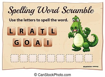 Spelling word scramble game with word alligator illustration