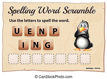 Spelling word scramble template with word penguin...