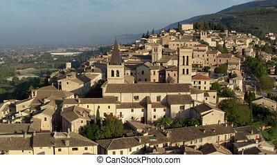 spello, italie, ville, ancien, prise vue aérienne