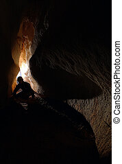 spelunker, explorar, um, caverna