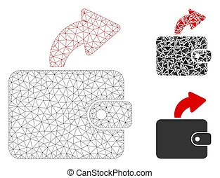 Spend Cash Vector Mesh Wire Frame Model and Triangle Mosaic Icon