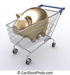 Spend Economy - Shopping cart with your savings.