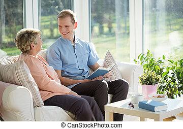 spenderande, äldre, kvinna, tid