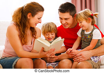 spenderande, familj, tillsammans, tid