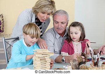 spenderande, farföräldrar, tid, barnbarn, deras