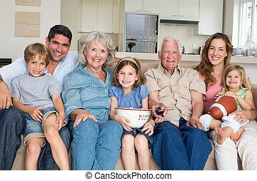 spenderande, multigeneration, familj, fritid