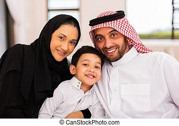 spenderande, muslimsk, familj, tillsammans, tid