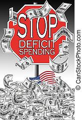 spendere, fermata, deficit