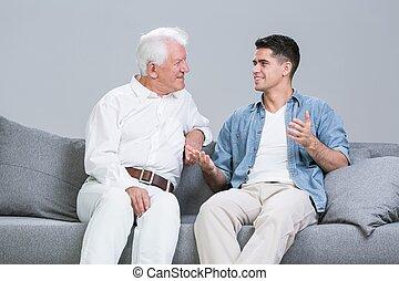 spendere, nonno, nipote, tempo