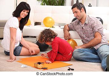 spendere, qualità, famiglia, insieme, tempo