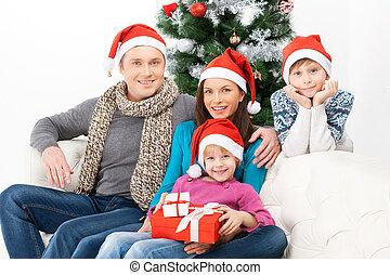 spendere, vigilia natale, insieme., allegro, famiglia, seduta, chiudere, a, altro, e, sorridente