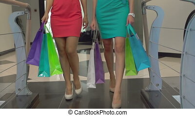 Spending all your Money - Low section of two women carrying...