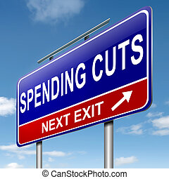 Spending cuts. - Illustration depicting a roadsign with a...