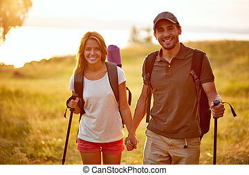 Spending leisure together - Portrait of couple of happy ...