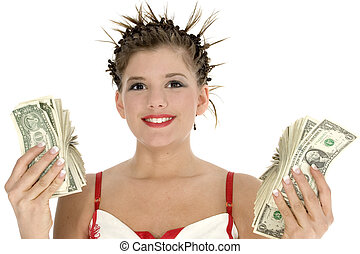 Spending Money - Beautiful teen girl with two hands full of...