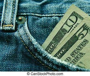 Fifteen American dollars in the pocket of a pair of blue jeans.