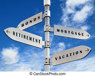 Spending money sign - Ways of spending money sign on the ...