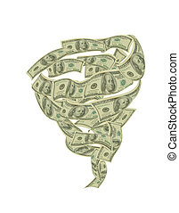 Spending Money Tornado - Hundred dollar bills circling...