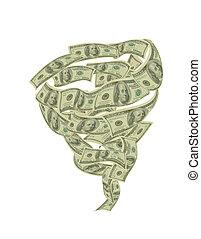 Hundred dollar bills circling tornado