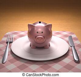 Spending Savings - Piggy bank on the plate ready to be...