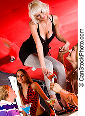 Spending time - Image of pretty girl standing on bar with...