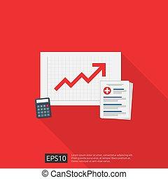 spendings, gezondheidszorg, groeiende, plat, of, vector, klembord, illustration., medisch, geneeskunde, concept., document, op, kosten, geld, calculator., gezondheid, duur, expenses., ontwerp