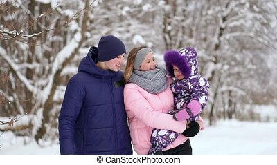 spends, ensemble, hiver, temps famille